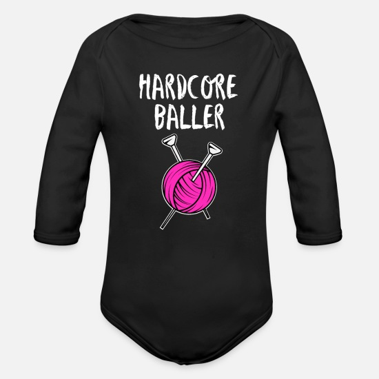 Ball Baby Clothes - Hard Core Baller - Organic Long-Sleeved Baby Bodysuit black