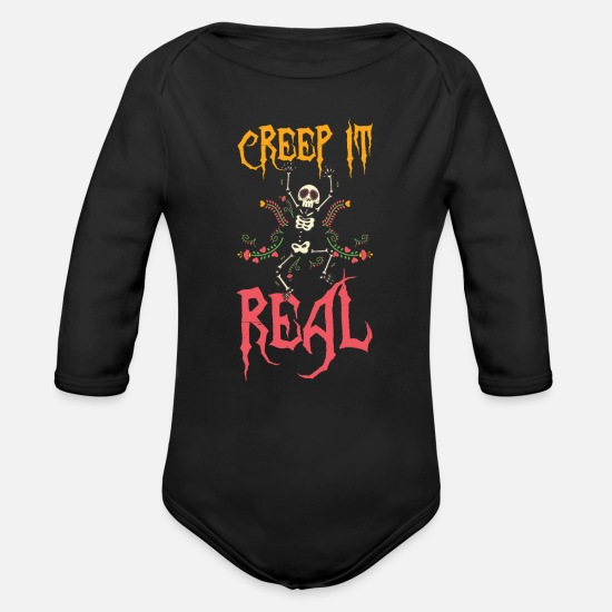 Halloween Baby Clothes - Halloween Creep It Real Creepy Skeleton - Organic Long-Sleeved Baby Bodysuit black
