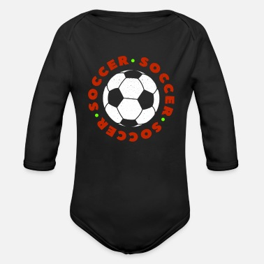 Soccer Ball Soccer Football Player Ball Ik hou van Soccer Fussball - Baby bio-rompertje met lange mouwen