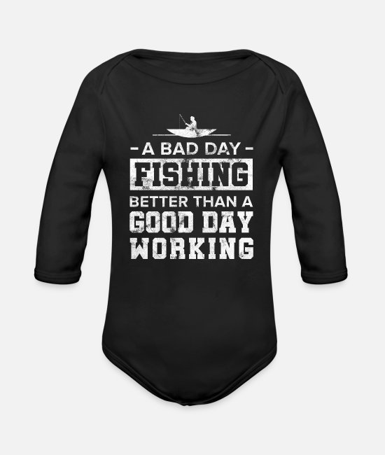 Ángel Baby Bodysuits - A Bad Day Fishing Good Day Working Fisherman Fish - Organic Long-Sleeved Baby Bodysuit black