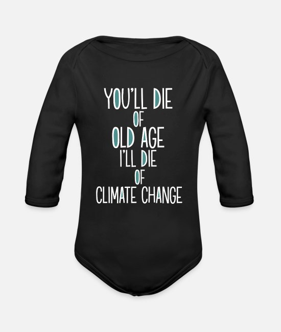 Enviromental Baby Clothes - Climate change Environment Sustainable - Organic Long-Sleeved Baby Bodysuit black