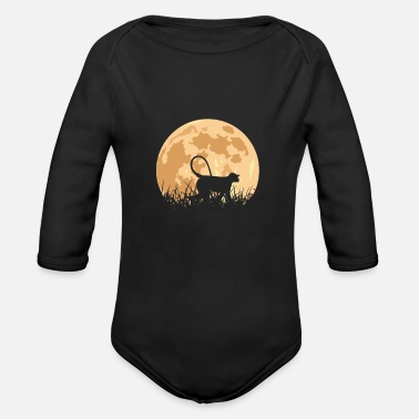 Ape Monkey in front of the moon - Organic Long-Sleeved Baby Bodysuit