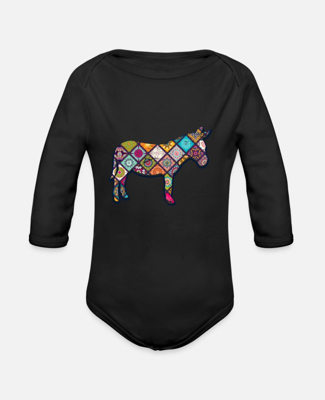 Animal Of The Farm Baby Bodysuits - Donkey lovers animal lovers - Organic Long-Sleeved Baby Bodysuit black