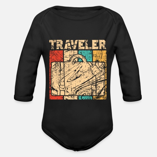 Travel Baby Clothes - Travel suitcase - Organic Long-Sleeved Baby Bodysuit black