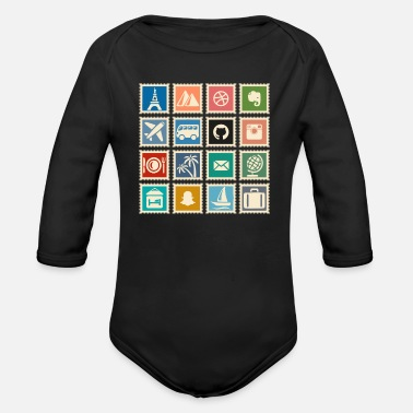 Stamp Collecting collect stamps - Organic Long-Sleeved Baby Bodysuit