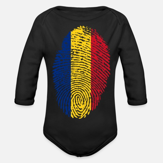 Romanian Baby Clothes - RUSSIA / ROMANIA / ROMANIAN - Organic Long-Sleeved Baby Bodysuit black