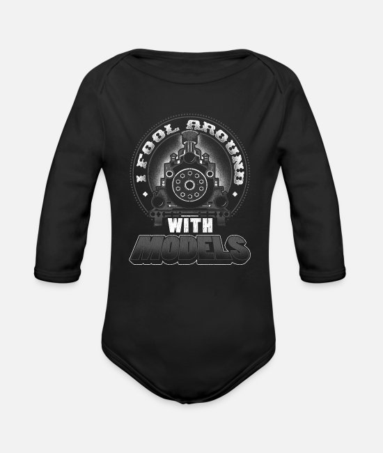 Training Baby Bodysuits - Railroader Train Hobbyist Fool Around with Models - Organic Long-Sleeved Baby Bodysuit black