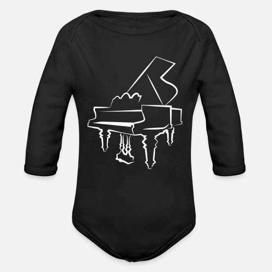 Key Baby Clothes - piano - Organic Long-Sleeved Baby Bodysuit black