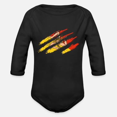 Sicily Original Sicily flag scratches Italy Palermo Trinacria - Organic Long-Sleeved Baby Bodysuit