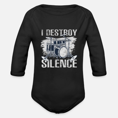 I destroy the silence - drums - Organic Long-Sleeved Baby Bodysuit