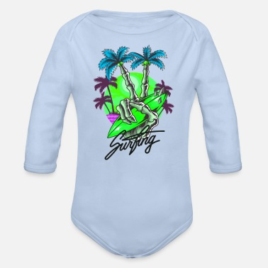 Beach Volleyball vacay mode - Organic Long-Sleeved Baby Bodysuit