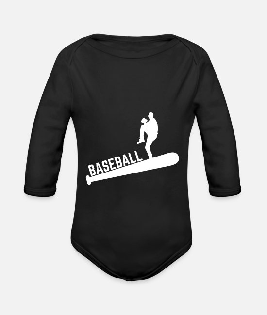 Catcher Baby Bodys - Baseball World Series Fan Shirt - Baby Bio Langarmbody Schwarz