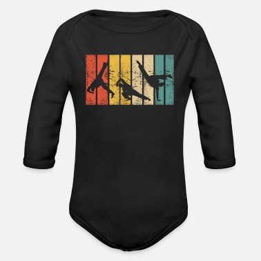 Male Retro Capoeira Fight Dance Roda Brazil Martial Arts - Organic Long-Sleeved Baby Bodysuit