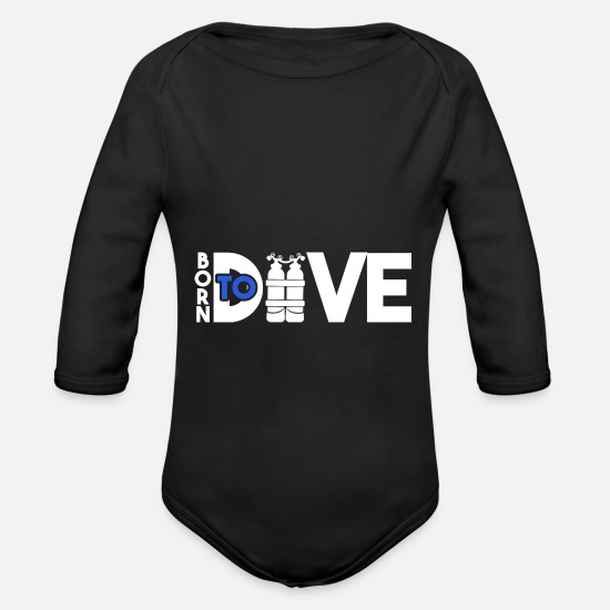 Gift Idea Baby Clothes - Dive diving - Organic Long-Sleeved Baby Bodysuit black