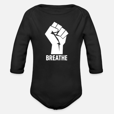 Equal Rights Breathe - Black Lives Matter Hand - Organic Long-Sleeved Baby Bodysuit