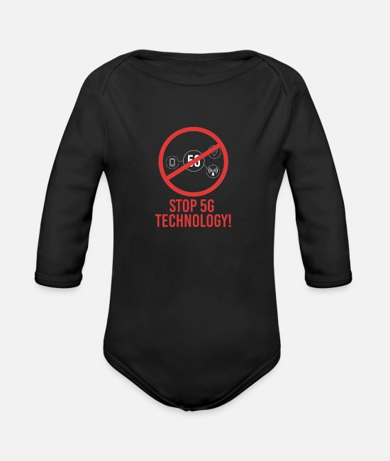 Industries Baby Bodys - Stop 5G mobile network Technology Anti Strahlung - Baby Bio Langarmbody Schwarz