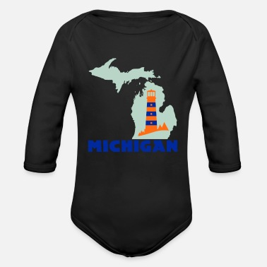 State Michigan state | USA America State States - Organic Long-Sleeved Baby Bodysuit