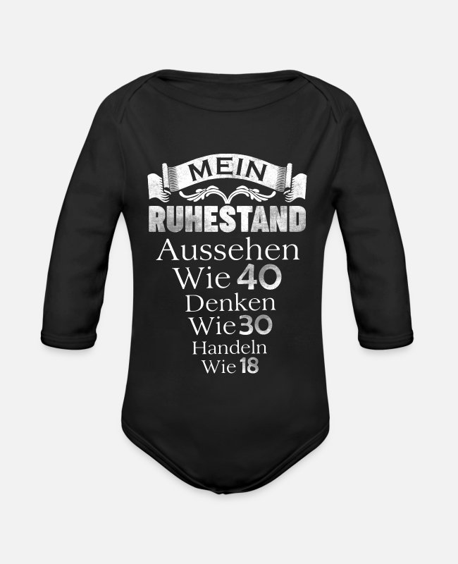 Pensioner Baby Bodysuits - retirement - Organic Long-Sleeved Baby Bodysuit black