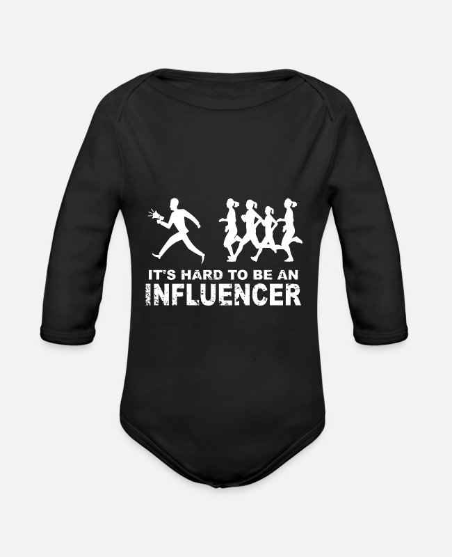 Social Network Baby Bodys - It's hard to be an influencer T-Shirt mit Groupies - Baby Bio Langarmbody Schwarz