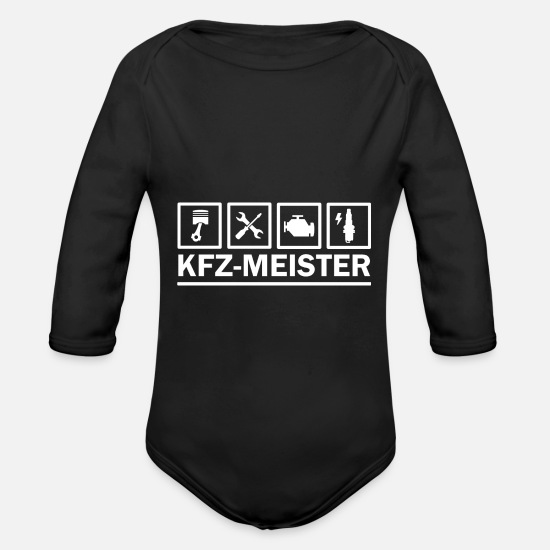 Diesel Baby Clothes - Car Master - The profession as a pictogram icon - Organic Long-Sleeved Baby Bodysuit black