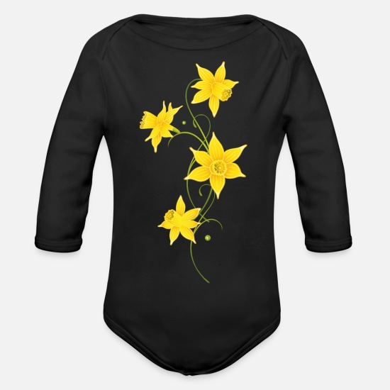 Floral Baby Clothes - Filigree Daffodils Flowers. Spring, Easter. - Organic Long-Sleeved Baby Bodysuit black