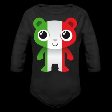 Bear in colors of the Italian flag / coat of arms - Organic Longsleeve Baby Bodysuit