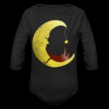 Cat is playing in the moon with star - Organic Longsleeve Baby Bodysuit
