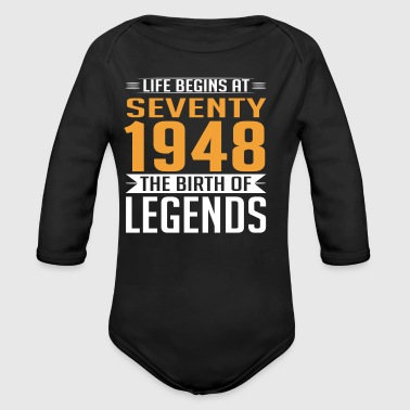 1948 70 70th Birthday years Legends gift - Baby Bio-Langarm-Body