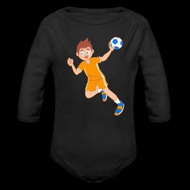 Boy handball cartoon throw gift idea - Organic Longsleeve Baby Bodysuit