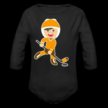 Cartoon ice hockey boy ice skate gift idea - Organic Longsleeve Baby Bodysuit