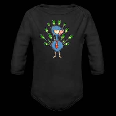 Peacock cool sunglasses tie gift idea - Organic Longsleeve Baby Bodysuit