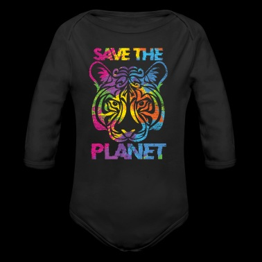 Save the planet Tiger CO2 global warming - Organic Longsleeve Baby Bodysuit