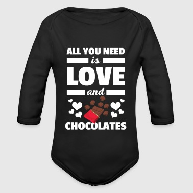 Cute All You Need è una t-shirt Love and Chocolates - Body ecologico per neonato a manica lunga
