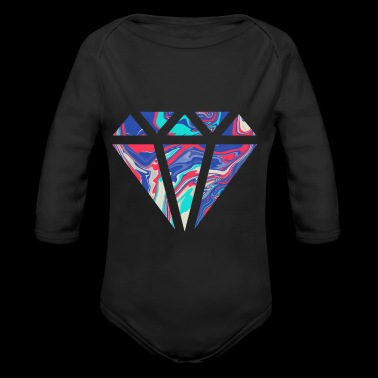 Simple colorful diamond design / symbol - Organic Longsleeve Baby Bodysuit