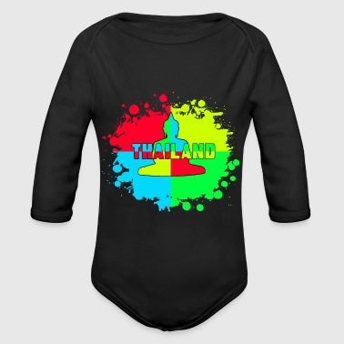 Thailand Color blob with Buddha / Gift - Organic Longsleeve Baby Bodysuit