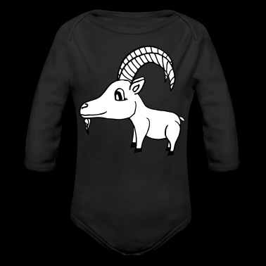 sweet goat with horns. Vector file - Organic Longsleeve Baby Bodysuit