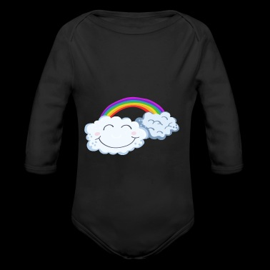 Lucky Day - Clouds With Rainbow - Comic - Baby bio-rompertje met lange mouwen