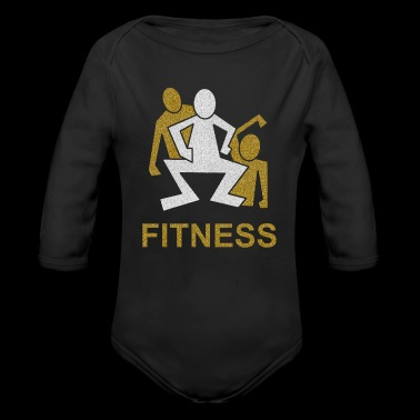 3 male squats fitness - Organic Longsleeve Baby Bodysuit