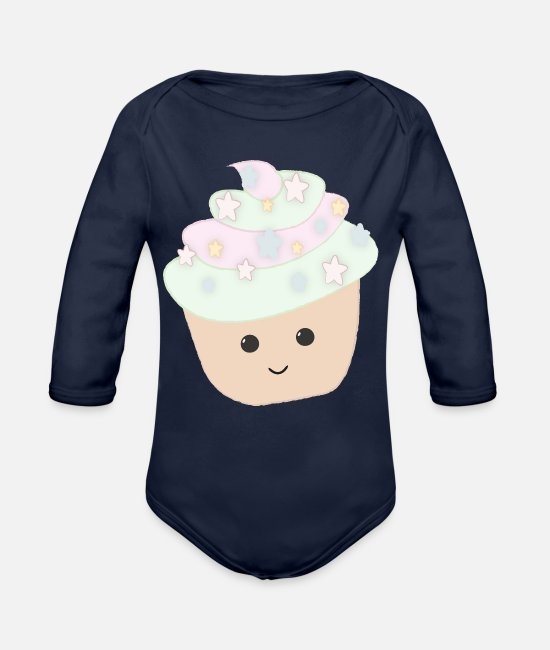 Cookie Baby Bodysuits - Sweet cupcake with stars sugar gift - Organic Long-Sleeved Baby Bodysuit dark navy