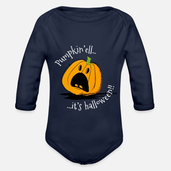 Horrorcontest Baby Clothes - Pumkin'ell it's Halloween! - Organic Long-Sleeved Baby Bodysuit dark navy