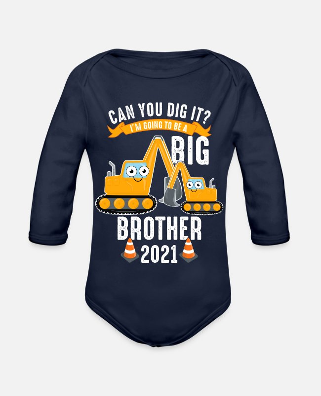 Pregnancy Announcement Baby Bodysuits - Big brother 2021 excavator pregnancy child - Organic Long-Sleeved Baby Bodysuit dark navy