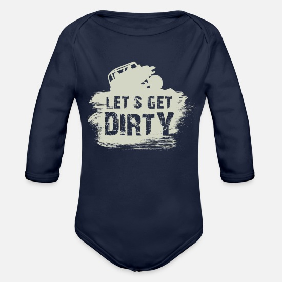 "Gift Idea Baby Clothes - Offroad ""Lets get dirty"" expedition gift - Organic Long-Sleeved Baby Bodysuit dark navy"