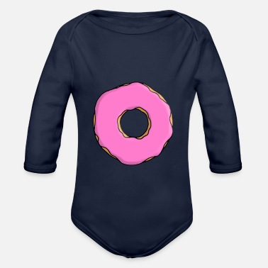 Frost Donut with frosting in pink - Organic Longsleeve Baby Bodysuit