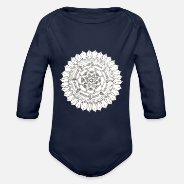 Hand-Drawn symmetrical Mandala - Organic Long-Sleeved Baby Bodysuit