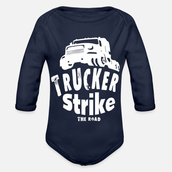 Container Baby Clothes - Truck Trucker - Organic Long-Sleeved Baby Bodysuit dark navy
