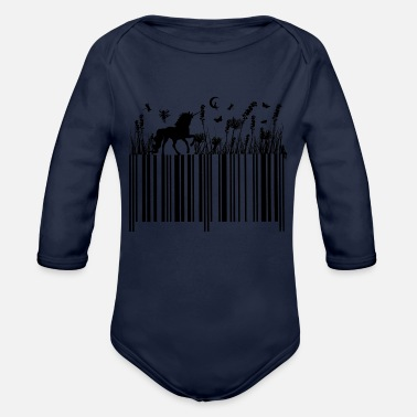 Barcode Unicorn white codigo Unicornio - Organic Long-Sleeved Baby Bodysuit
