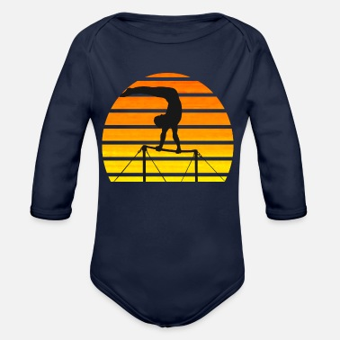 Horizontal Bar Gymnast on the horizontal bar - Organic Long-Sleeved Baby Bodysuit