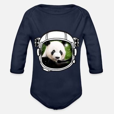 Armstrong helmet panda Astronaut all above ground hipster - Organic Longsleeve Baby Bodysuit