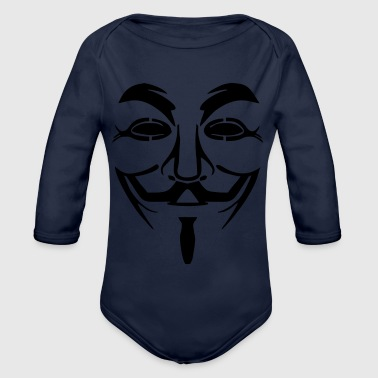 Vendetta mask - Guy Fawkes (Anonymous) - Organic Longsleeve Baby Bodysuit