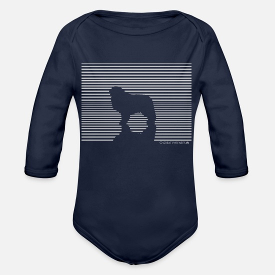 Birthday Baby Clothes - Pyrenees mountain dog dog t-shirt gift - Organic Long-Sleeved Baby Bodysuit dark navy